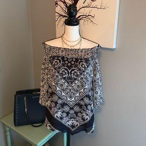 Westport Dressbarn Small Floral Off Shoulder Top